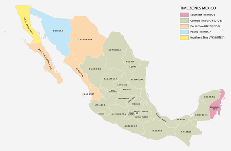 Vector map of the five time zones of the North American state of Mexico