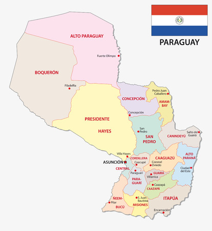 paraguay administrative and political vector map with flag Иллюстрация