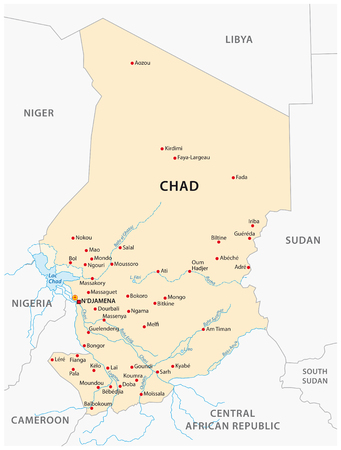 Illustration of a map of Chad Иллюстрация