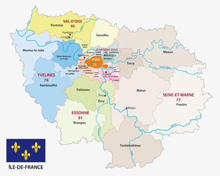 ile de france administrative and political vector map with flag, france