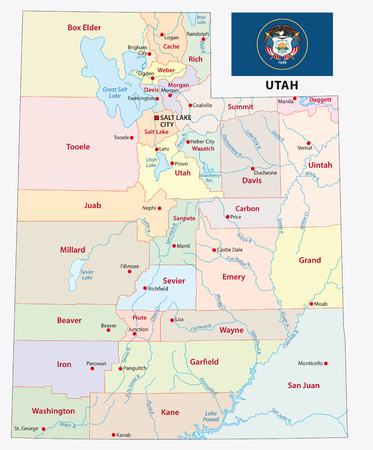 utah administrative and political vector map