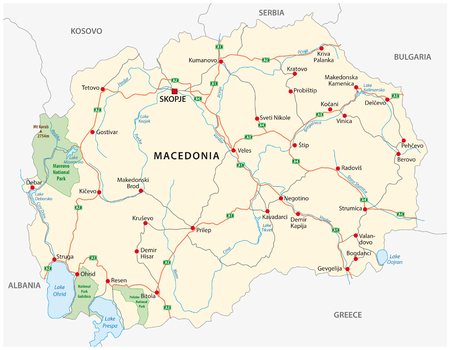 Macedonia road and national park vector map 矢量图像
