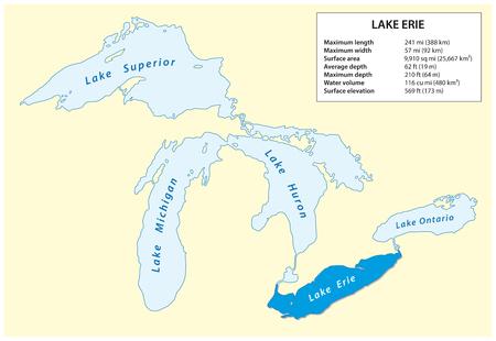 北米のエリー湖の情報ベクトル地図 写真素材 - 100777651