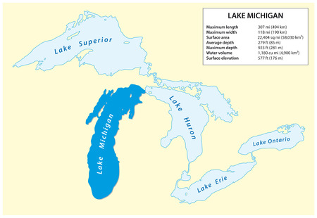 Information vector map of Lake Michigan in North America 向量圖像
