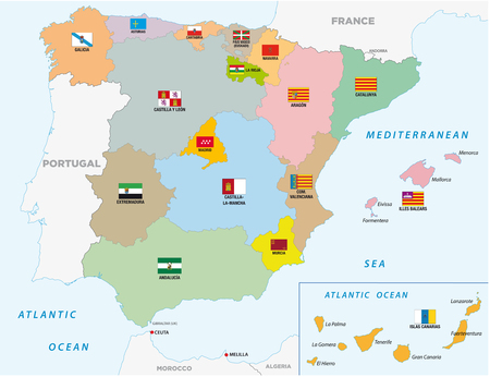 spain administrative and political vector map with flags Ilustração
