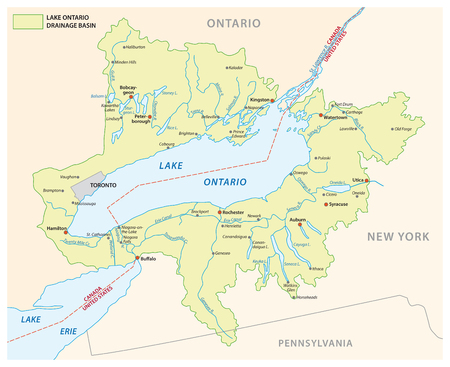 Lake ontario drainage basin vector map