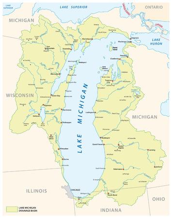 Lake Michigan drainage basin vector map. Ilustração