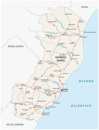 road vector map of the brazilian state espirito santo Ilustração