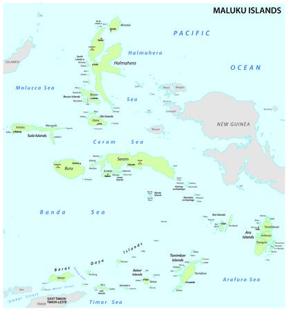 Maluku Islands vector map