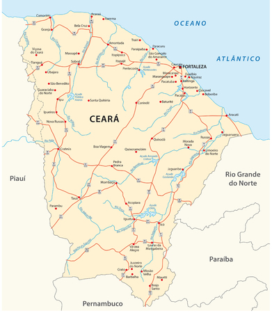 road vector map of the brazilian state ceara Иллюстрация