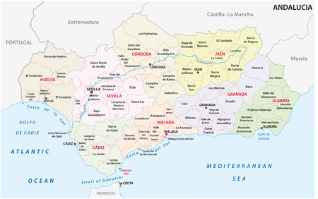Andalusia administrative and political vector map. Illustration