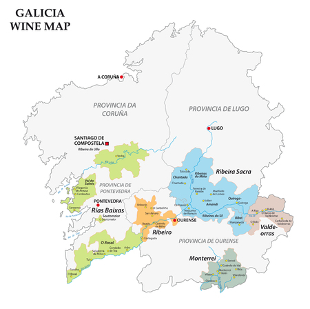 Galicia, Spain, vector map of the vineyards
