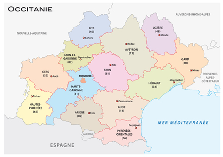 administrative and political vector map of the occitanie region, france