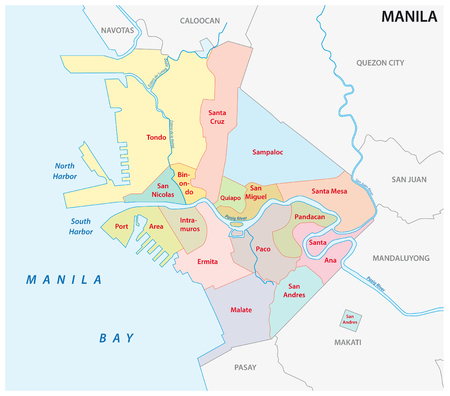 manila administrative and political vector map, philippines