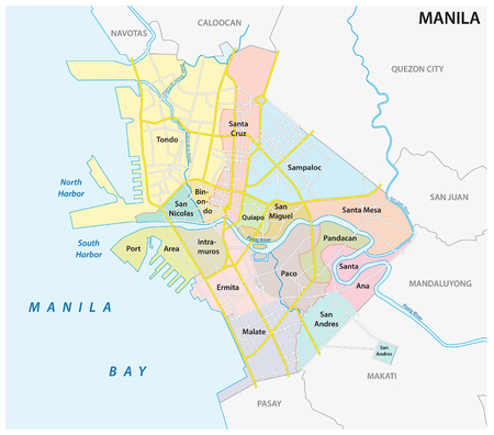 manila administrative, political and road map, philippines 向量圖像