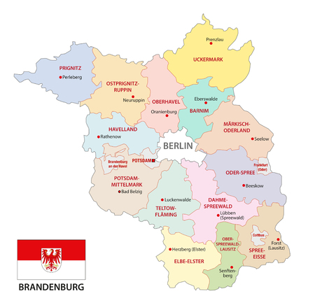 brandenburg administrative and political vector map with flag, germany Stock Illustratie