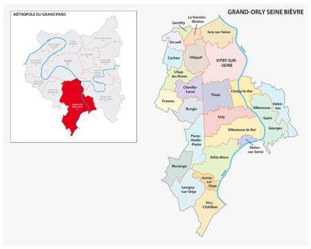 administrative and political vector map of Grand Orly Seine Bievre, Greater Paris, France  イラスト・ベクター素材