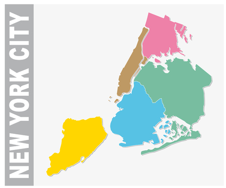 Colorful New York City administrative and political vector map, United States