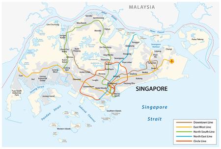 Mappa della metropolitana di vettore della Repubblica di Singapore