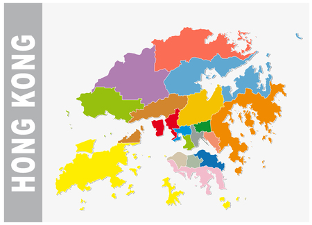 Colorful Hong Kong administrative and political vector map