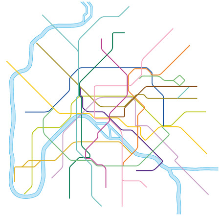 colored metro vector map of Paris, France