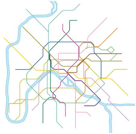 kolorowe mapy wektorowe metra Paryż, Francja Ilustracje wektorowe