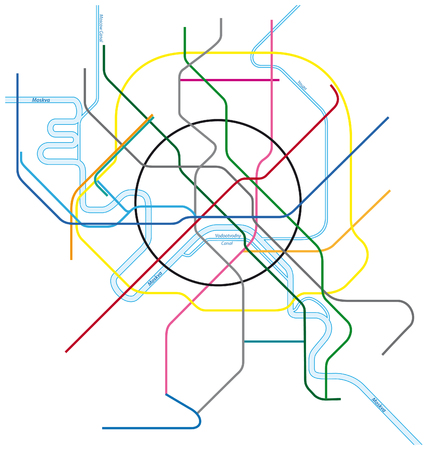 colored metro vector map of Moscow, Russia