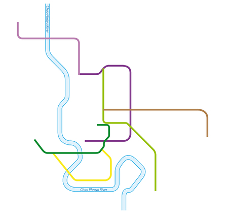 colored metro vector map of Bangkok, Thailand