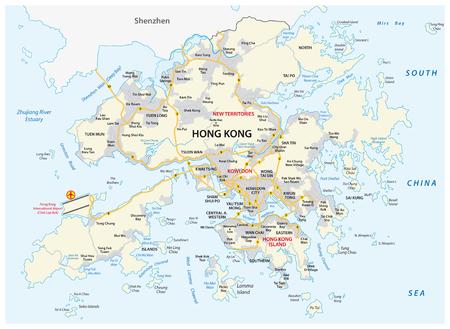 Speciale Administratieve Regio Hong Kong van de Volksrepubliek China Vector routekaart