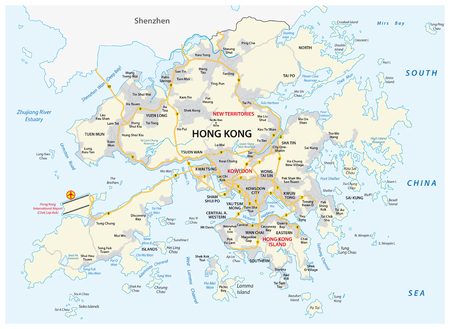 Hong Kong Special Administrative Region of the People's Republic of China Road vector map Illustration