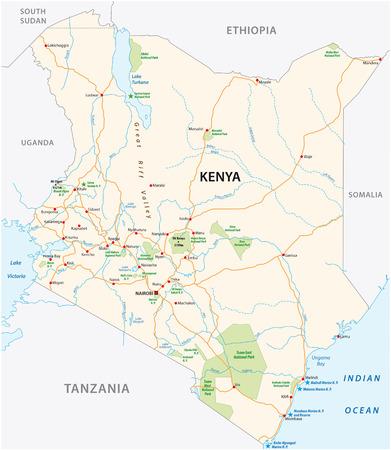 kenya road and national park vector map Иллюстрация
