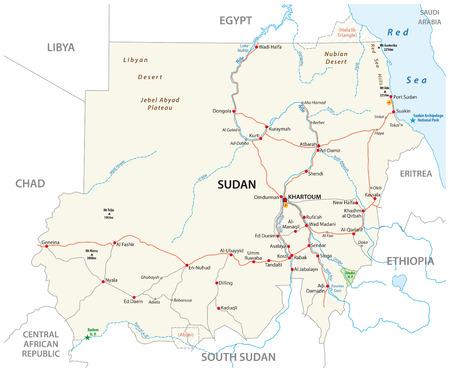 Republic of the Sudan road vector map 일러스트