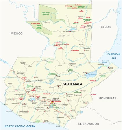 Carte routière vectorielle du Guatemala avec les principales ruines mayas et parcs nationaux