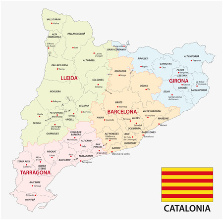 Catalonia administrative and political vector map with flag.