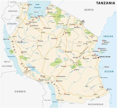 Vector wegenkaart van de Verenigde Republiek Tanzania