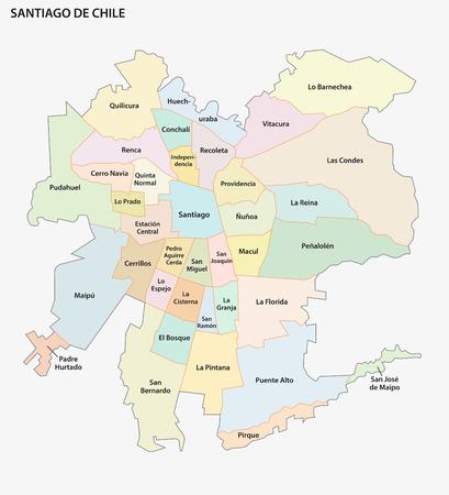 Mapa de vectores administrativo y político de la aglomeración de Santiago de Chile.