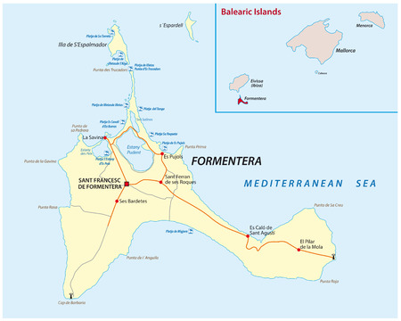 formentera road and beach vector map.