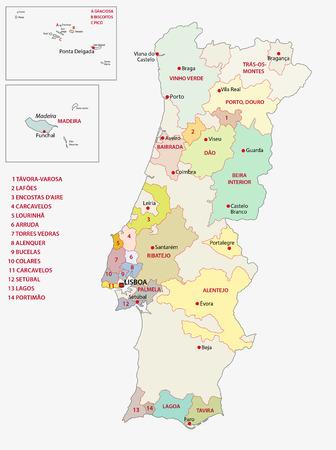 mappa delle regioni vinicole del portogallo