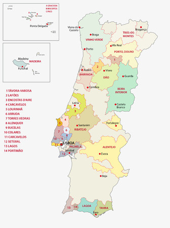 portugal wine regions map 向量圖像