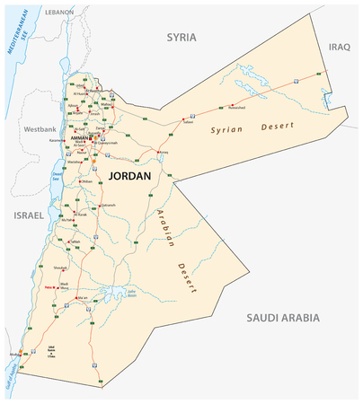 Kingdom of Jordan road vector map.