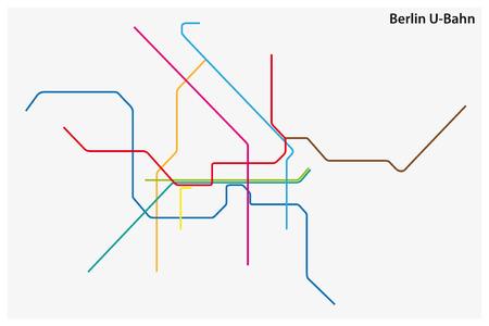 colorata mappa vettoriale della metropolitana di Berlino, Germania.