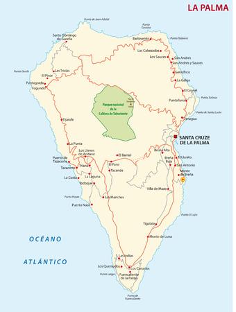 Vector road map of Canary Island La Palma.