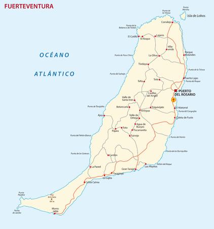 Mapa drogowa wektor Mapa Wyspy Kanaryjskie Fuerteventura. Ilustracje wektorowe