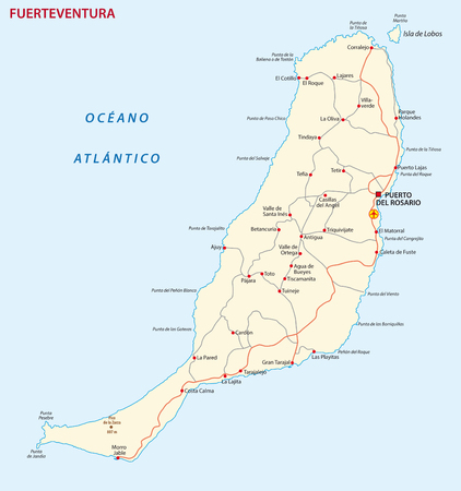 Vector road map of Canary Island fuerteventura map.