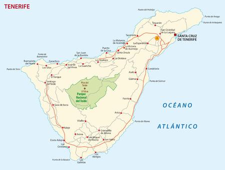 Carte routière de vecteur de l'île des Canaries Tenerife