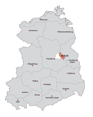 Administrative and political administrative map of the former German Democratic Republic GDR..