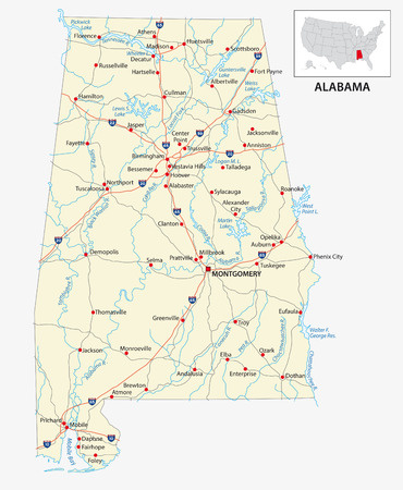 road map of the US American State of Alabama .