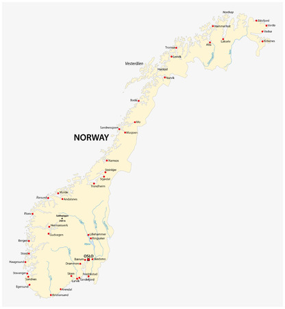 Kingdom of Norway vector map.