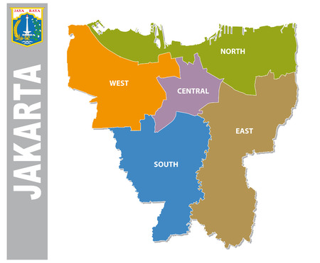 Colorful Jakarta administrative and political map with coat of arms.
