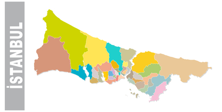 Colorful Istanbul administrative and political map .